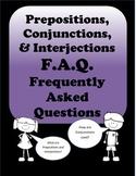 Grammar Worksheets - Prepositions, Conjunctions, Interjections
