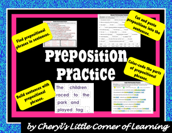 Prepositions Cut and Paste Activities with sentence building cards