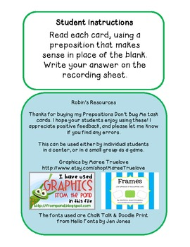 Prepositions Don't Bug Me: Fill In the Blank task cards