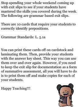 Prepositions Exit Slips for Middle School