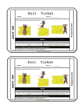 Prepositions Exit Tickets