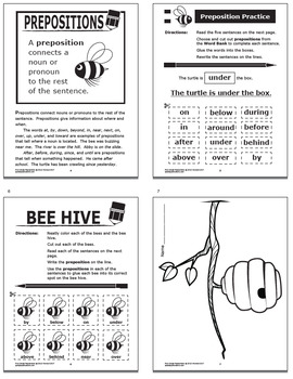 Preposition Activities Complete Lesson Color Poster