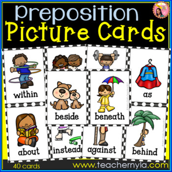 Prepositions Flash Cards - Illustrated