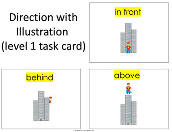 Prepositions Following Directions Interactive Mats and Task Cards for Special Ed