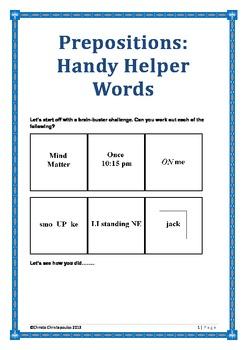 Prepositions: Handy Helper Words