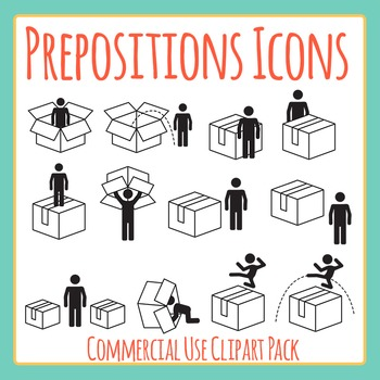 Prepositions Icon / Symbols Set Clip Art for Commercial Use