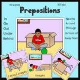 Prepositions. Illustrations and clipart- Boy with a box. I