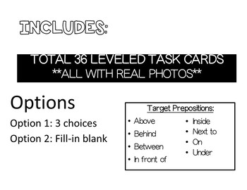 Prepositions Independent Tasks REAL PHOTOS (Books and Task Cards)- WINTER