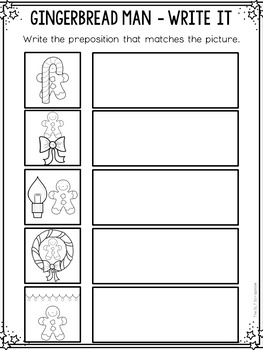 Prepositions Interactive Book and Worksheets- Where is the Gingerbread Man?