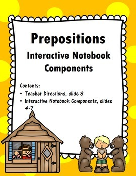 Prepositions Interactive Notebook Components