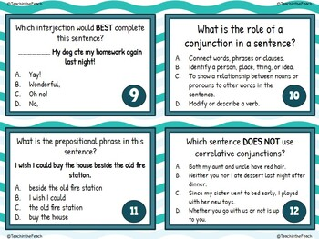 Prepositions, Interjections, and Conjunctions Task Cards  **EDITABLE**