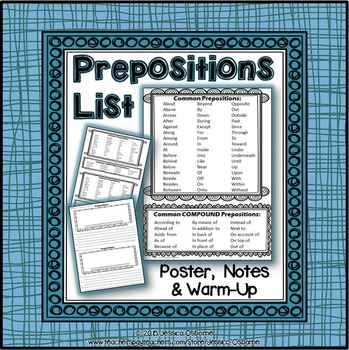 Prepositions List (FREE) Poster, Notes, and Warm-Up