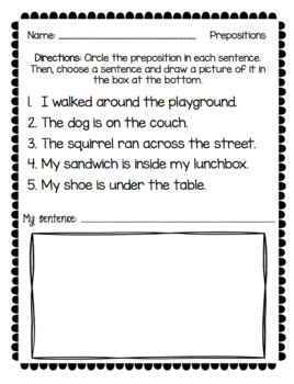 Prepositions NO PREP Packet