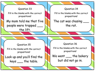 ★Prepositions- OVER 100 Task Cards + Answers + Teaching Cards!