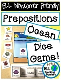 Prepositions: Ocean Dice Game, ELL Newcomer Friendly