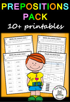 Prepositions Pack (Parts of Speech) – 10+ worksheets