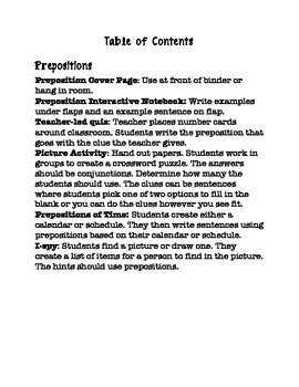 Prepositions Packet
