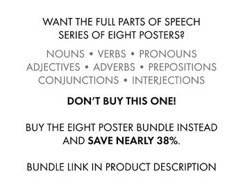 Prepositions, Parts of Speech Poster for Secondary Classrooms, Grammar Poster