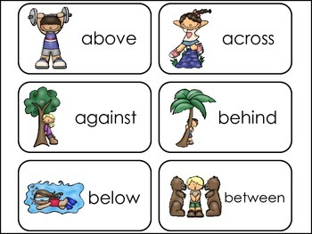 Prepositions Picture Word Flash Cards.