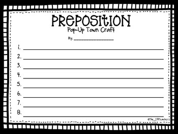 Prepositions Pop-Up Craft and Writing