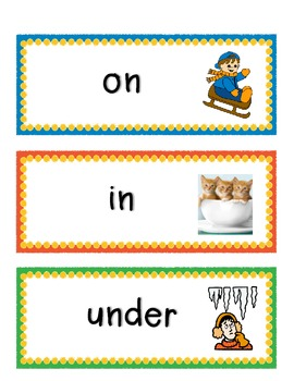 Prepositions (Position Words) - Word Wall Vocabulary Cards with Pictures