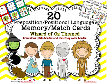 Prepositions - Positional Language Memory Matching Cards