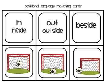 Prepositions - Positional Language Memory Matching Cards - Soccer Themed