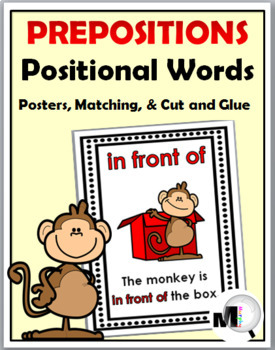 Prepositions / Positional Words Posters, Matching, Cut & Paste - Monkey Theme