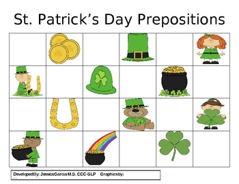 Prepositions Practice- St. Patrick's Day
