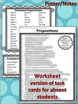 Prepositions & Prepositional Phrases Task Cards with Notes/Poster & Worksheet