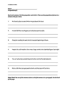 ELA MORNING WORK Gr 3, 4, Prepositions, Prepositional Phrases
