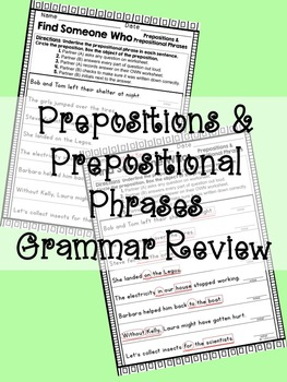 Find Someone Who: Prepositions & Prepositional Phrases Grammar Review