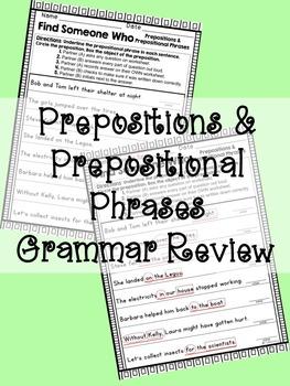 Kagan- Find Someone Who: Prepositions & Prepositional Phra