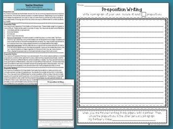Prepositions & Prepositional Phrases No Prep Practice
