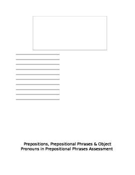 Prepositions, Prepositional Phrases, Object Assessment