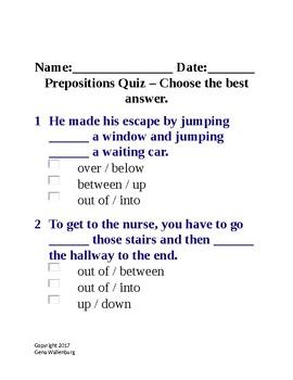 Prepositions Quiz