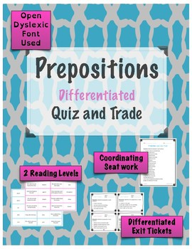 Prepositions Game - Quiz and Trade {Differentiated}