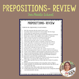Prepositions Review for Middle School
