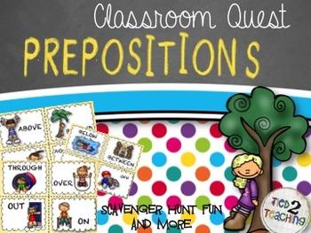 Prepositions Scavenger Hunt - A CLASSROOM QUEST