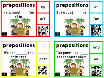 Prepositions Task Cards with QR Codes