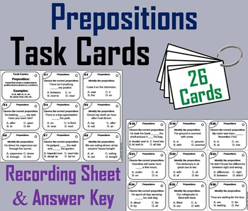 Prepositions Task Cards 2nd 3rd 4th Grade
