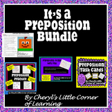 Preposition Task Cards, Cut & Paste, WordFind, foldable & Mystery Picture BUNDLE