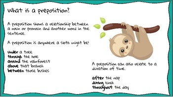 Preposition Task Cards: Identify Prepositions, Prepositional Phrases & Objects