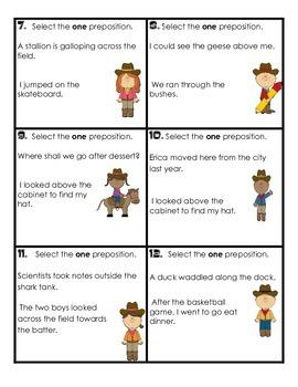 Prepositions Task Cards:  Common Core Aligned
