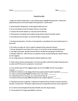 Prepositions Test