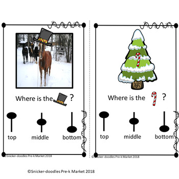 Prepositions: Top, middle, bottom in a Winter Wonder Land Adapted Book