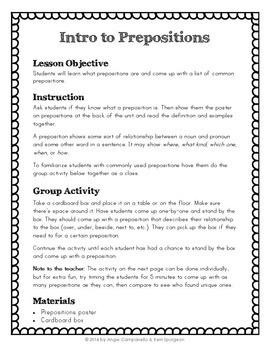 Prepositions Unit - Parts of Speech Series