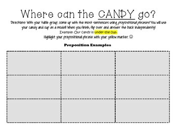 Prepositions- Where can the Candy go?