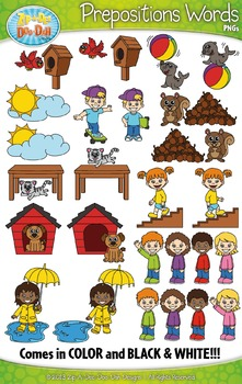 Prepositions Word Clipart Set — Includes 40 Graphics!