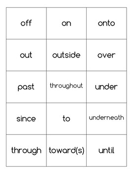 Prepositions Wordsearch and Matching